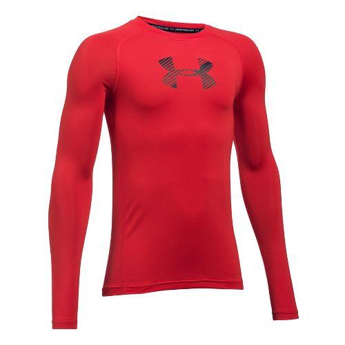 Under Armour Boys Armour Long Sleeve Technical Tops - Red YXL
