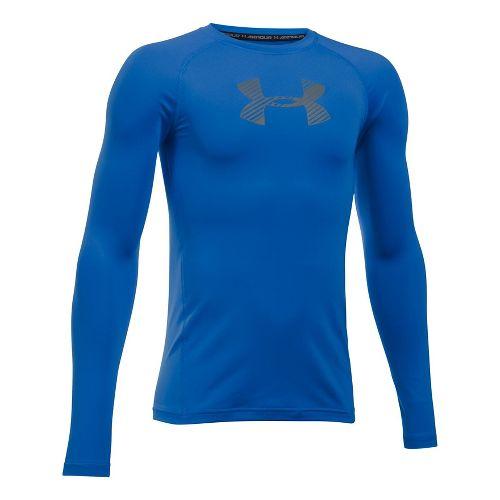 Under Armour Boys Armour Long Sleeve Technical Tops - Ultra Blue YXL