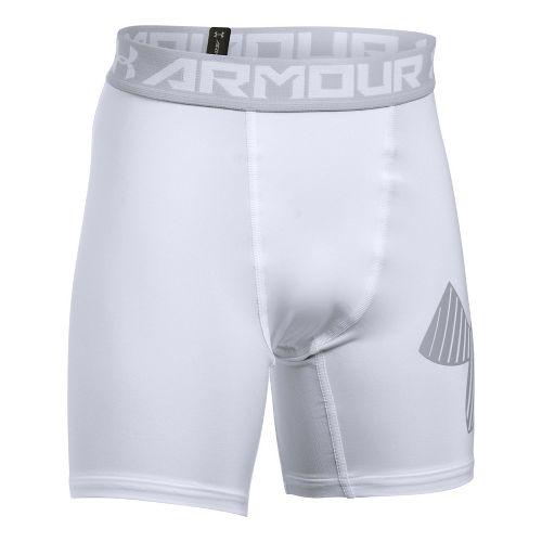 Under Armour Boys Armour Mid Short Boxer Brief Underwear Bottoms - White/Overcast Grey YS