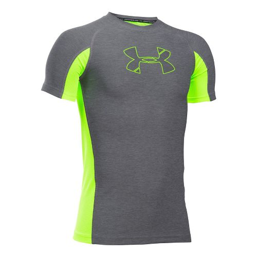 Under Armour Boys Armour Novelty Short Sleeve Technical Tops - Graphite/Fuel Green YXS