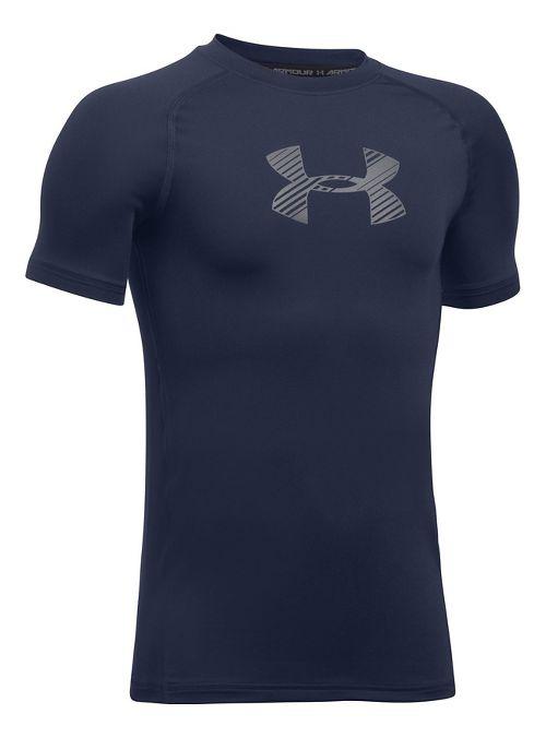 Under Armour Boys Armour Short Sleeve Technical Tops - Midnight Navy YXS