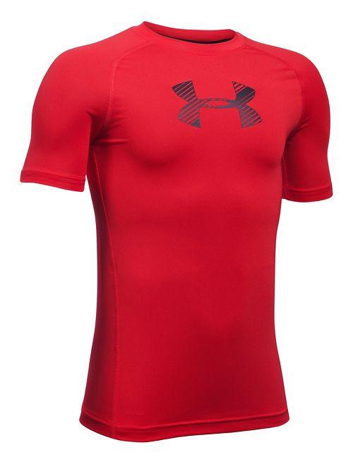 Under Armour Boys Armour Short Sleeve Technical Tops - Red YS