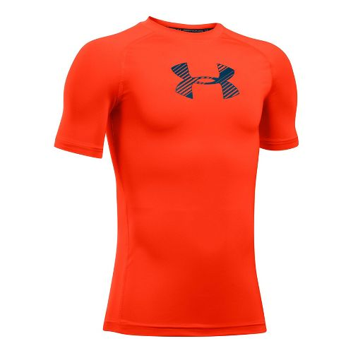 Under Armour Boys Armour Short Sleeve Technical Tops - Dark Orange YXS