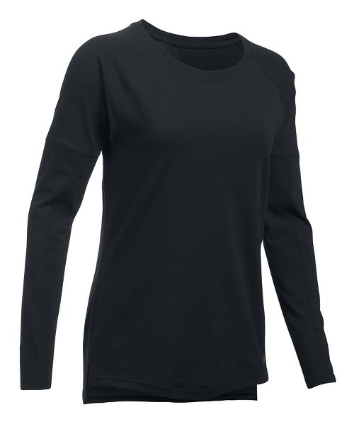 Womens Under Armour Favorite Tee Long Sleeve Technical Tops - Black M