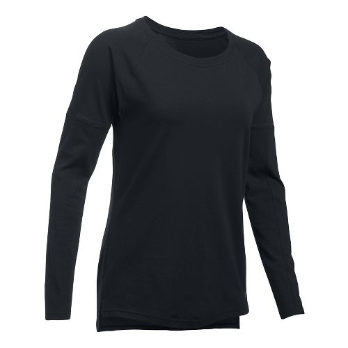 Womens Under Armour Favorite Tee Long Sleeve Technical Tops - Black XL