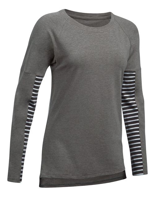 Womens Under Armour Favorite Tee Long Sleeve Technical Tops - Carbon/White L