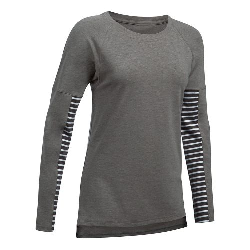 Womens Under Armour Favorite Tee Long Sleeve Technical Tops - Carbon/White S