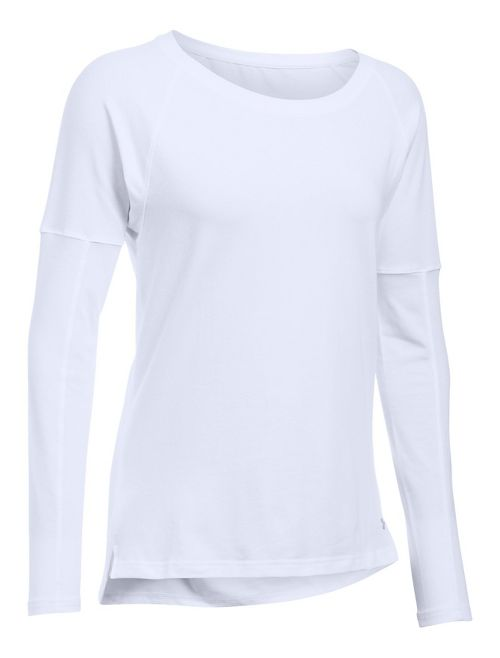 Womens Under Armour Favorite Tee Long Sleeve Technical Tops - White M