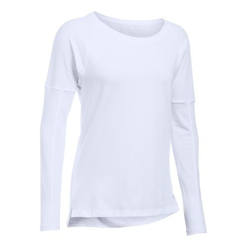 Womens Under Armour Favorite Tee Long Sleeve Technical Tops - White XL