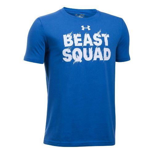 Under Armour Boys Beast Squad Tee Short Sleeve Technical Tops - Ultra Blue YL