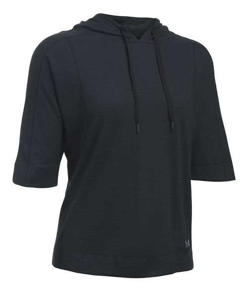 Womens Under Armour Favorite Mesh Oversized Hoodie Short Sleeve Technical Tops - Black XL