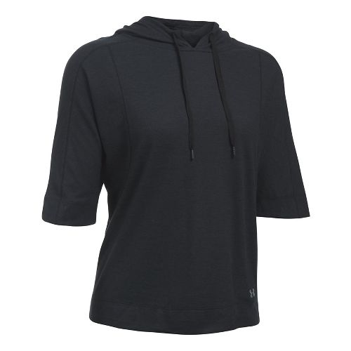 Womens Under Armour Favorite Mesh Oversized Hoodie Short Sleeve Technical Tops - Black M