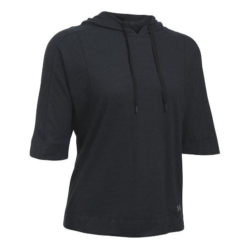 Womens Under Armour Favorite Mesh Oversized Hoodie Short Sleeve Technical Tops - Black XL
