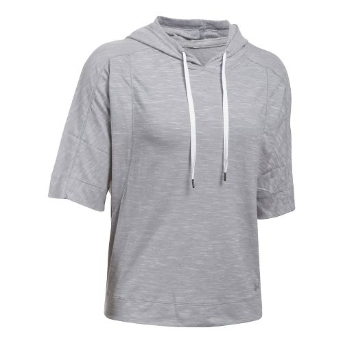 Womens Under Armour Favorite Mesh Oversized Hoodie Short Sleeve Technical Tops - Grey/White XS