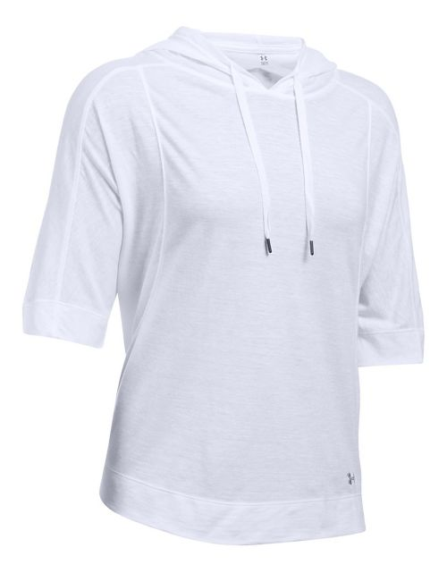 Womens Under Armour Favorite Mesh Oversized Hoodie Short Sleeve Technical Tops - White XL