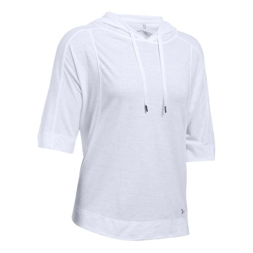 Womens Under Armour Favorite Mesh Oversized Hoodie Short Sleeve Technical Tops - White L