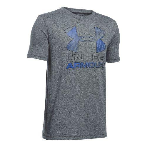 Under Armour Boys Big Logo Hybrid 2.0 Tee Short Sleeve Technical Tops - White/Overcast Grey ...
