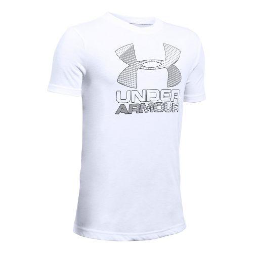 Under Armour Boys Big Logo Hybrid 2.0 Tee Short Sleeve Technical Tops - White/Overcast Grey YM