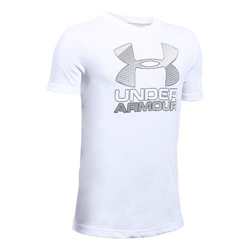 Under Armour Boys Big Logo Hybrid 2.0 Tee Short Sleeve Technical Tops - White/Overcast Grey ...