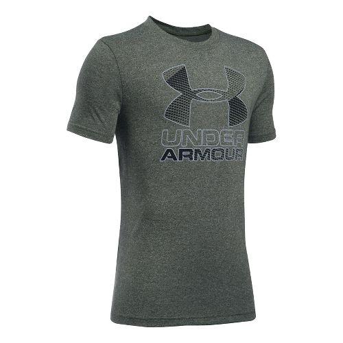 Under Armour Boys Big Logo Hybrid 2.0 Tee Short Sleeve Technical Tops - Downtown Green/Black ...