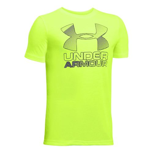 Under Armour Boys Big Logo Hybrid 2.0 Tee Short Sleeve Technical Tops - Fuel Green/Graphite ...