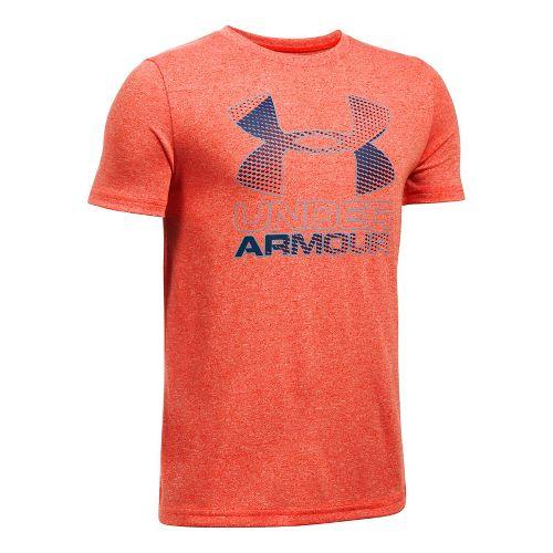 Under Armour Boys Big Logo Hybrid 2.0 Tee Short Sleeve Technical Tops - Dark Orange/Navy ...