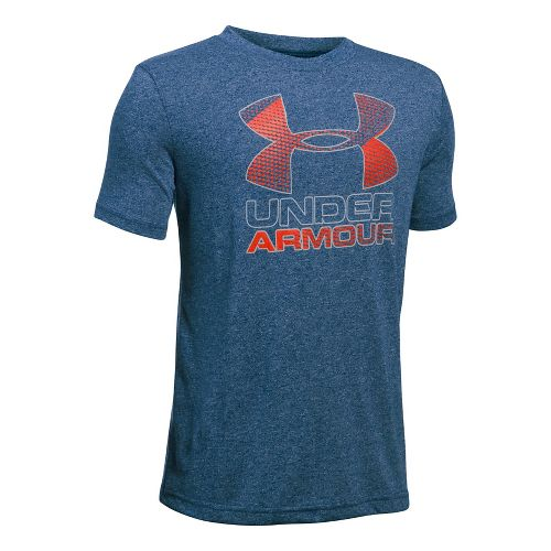 Under Armour Boys Big Logo Hybrid 2.0 Tee Short Sleeve Technical Tops - Blackout Navy/Orange YM