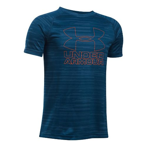 Under Armour Boys Big Logo Hybrid 2.0 Short Sleeve Printed T Short Sleeve Technical Tops ...