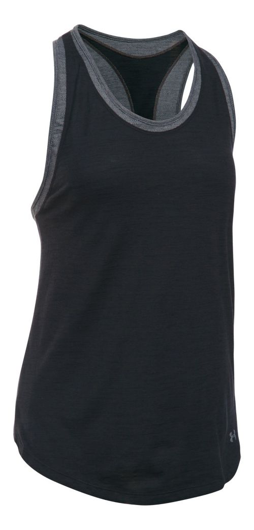 Womens Under Armour Favorite Mesh Sleeveless & Tank Tops Technical Tops - Black/Heather L