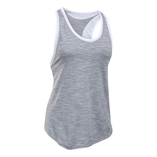 Womens Under Armour Favorite Mesh Sleeveless & Tank Tops Technical Tops - Grey/White L