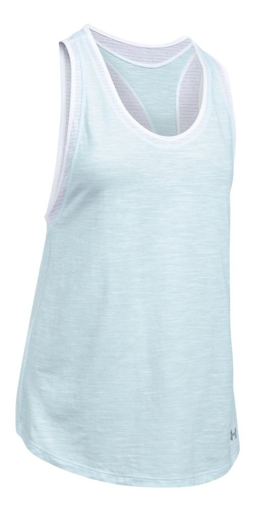 Womens Under Armour Favorite Mesh Sleeveless & Tank Tops Technical Tops - Skylight/White XL