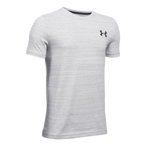 Under Armour Boys Big Logo Hybrid Triblend Tee Short Sleeve Technical Tops - Steel YL ...