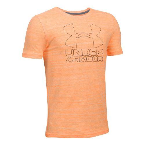 Under Armour Boys Big Logo Hybrid Triblend Tee Short Sleeve Technical Tops - Radiate YM ...