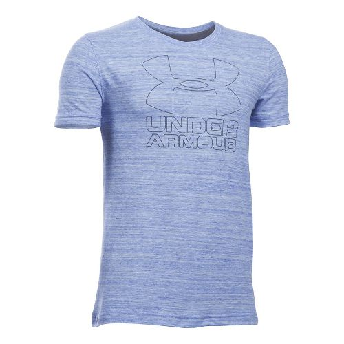 Under Armour Boys Big Logo Hybrid Triblend Tee Short Sleeve Technical Tops - Ultra Blue ...