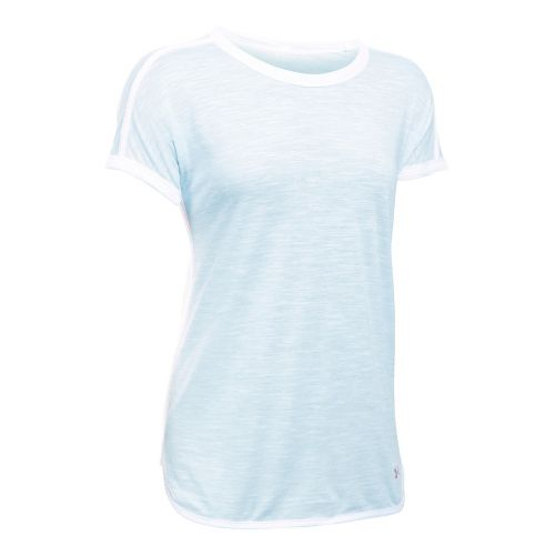 Womens Under Armour Favorite Mesh Tee Short Sleeve Technical Tops - Skylight/White L