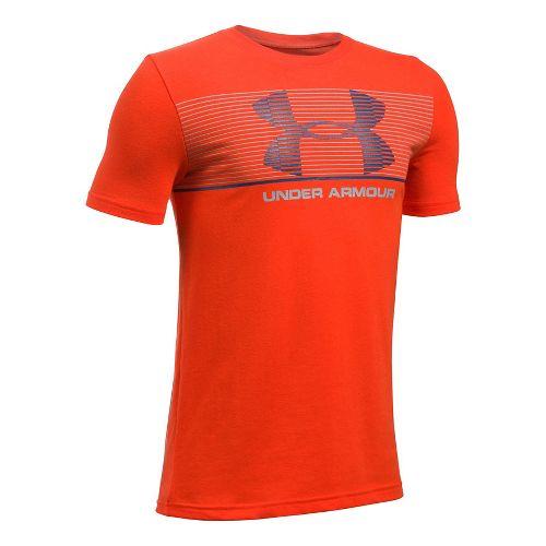 Under Armour Boys Chest Stripe Tee Short Sleeve Technical Tops - Dark Orange/Grey YM