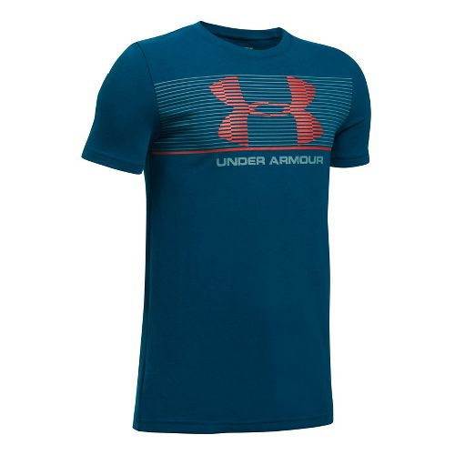 Under Armour Boys Chest Stripe Tee Short Sleeve Technical Tops - Blackout Navy/Grey YXL