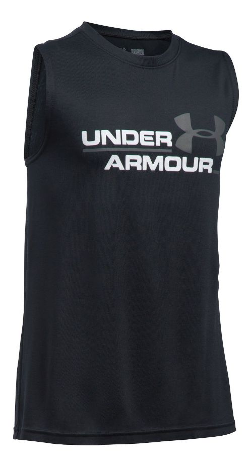 Under Armour Boys DuoLogo Sleeveless & Tank Tops Technical Tops - Black/Graphite YM