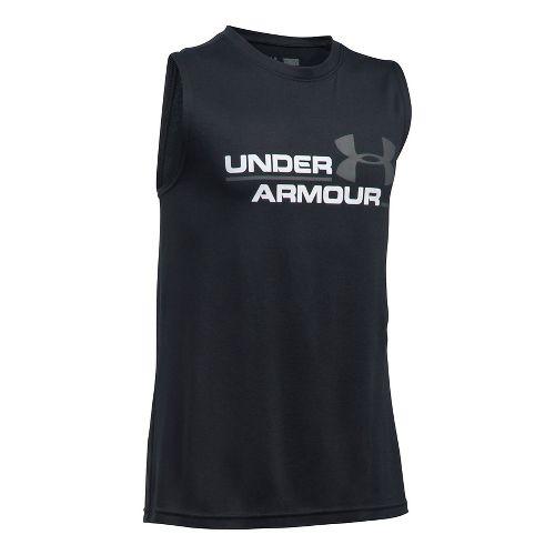 Under Armour Boys DuoLogo Sleeveless & Tank Tops Technical Tops - Black/Graphite YM