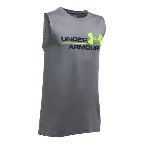 Under Armour Boys DuoLogo Sleeveless & Tank Tops Technical Tops - Graphite/Black YS