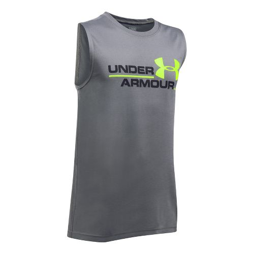 Under Armour Boys DuoLogo Sleeveless & Tank Tops Technical Tops - Graphite/Black YXS
