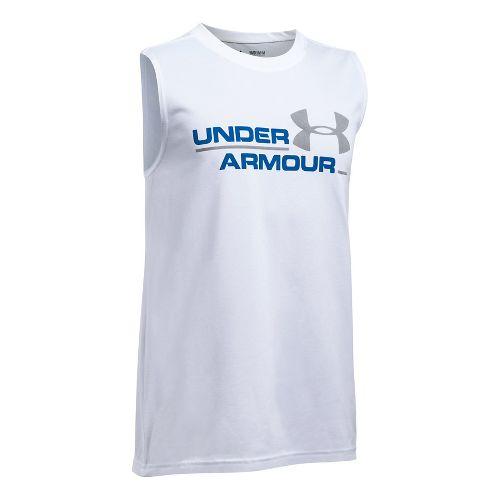 Under Armour Boys DuoLogo Sleeveless & Tank Tops Technical Tops - White/Ultra Blue YL