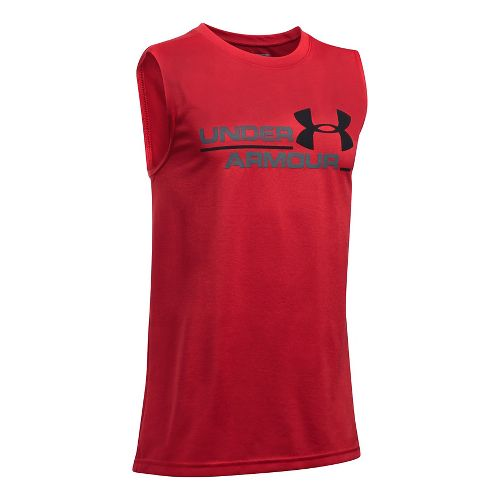 Under Armour Boys DuoLogo Sleeveless & Tank Tops Technical Tops - Red/Graphite YXS