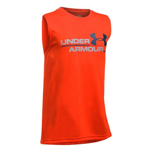 Under Armour Boys DuoLogo Sleeveless & Tank Tops Technical Tops - Dark Orange/Grey YXL