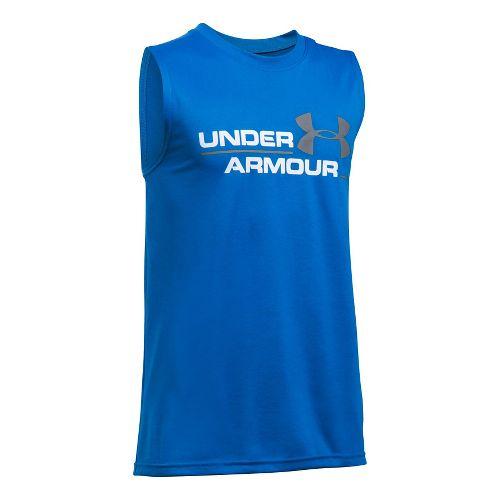 Under Armour Boys DuoLogo Sleeveless & Tank Tops Technical Tops - Ultra Blue/White YL