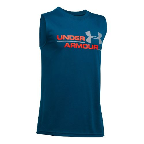 Under Armour Boys DuoLogo Sleeveless & Tank Tops Technical Tops - Blackout Navy/Orange YM