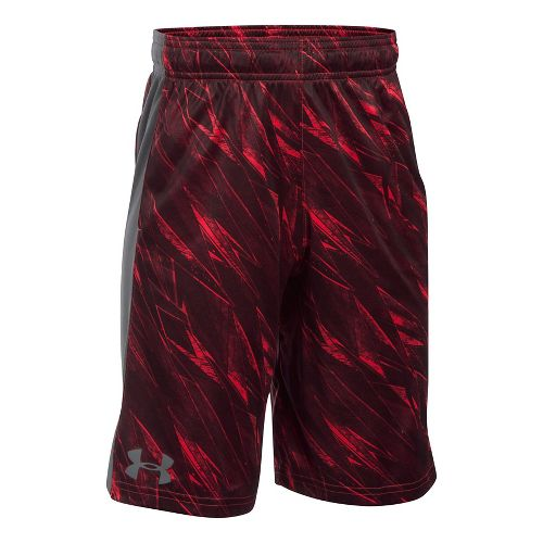 Under Armour Boys Eliminator Printed Short Unlined Technical Tops - Red/Graphite YXS