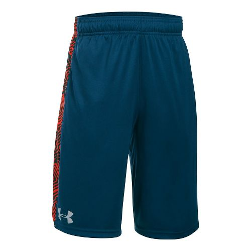 Under Armour Eliminator Printed Short Unlined Technical Tops - Blackout Navy/Orange YM