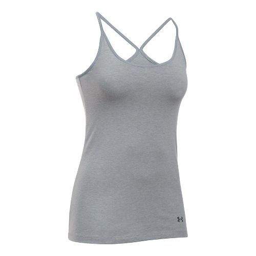 Womens Under Armour Favorite Shelf Bra Cami Sleeveless & Tank Tops Technical Tops - Grey ...