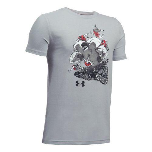 Under Armour Boys Football Tank Tee Short Sleeve Technical Tops - Overcast Grey YS
